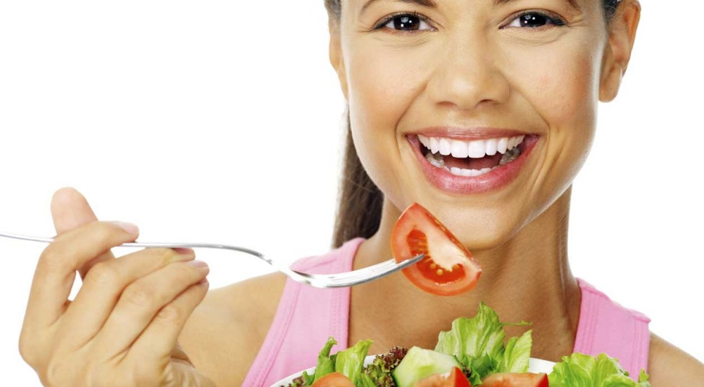 salad woman happy